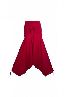 Harem pants casual mid-long, cotton, wide waistband, mesh elasticated