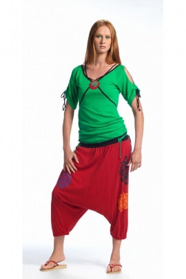 Harem pants mid-long, casual, cotton, print lotus colored
