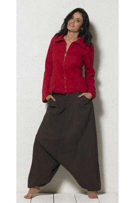 Harem pants trousers casual, zip and button closure, waistband smocked sides
