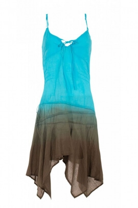 Mini-dress, casual, and original, dye, shaded, in cotton voile