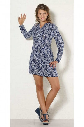 Short dress is casual and colorful, with long sleeves, printed table