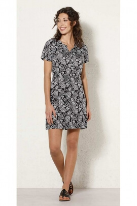 Short dress casual short sleeve printed fleurette colorful