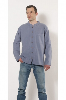 Shirt for men in cotton, knit collar and mao, manufacture nepal