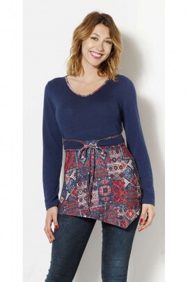 Tunic ethnic two-tone tunic original asymmetrical with lace