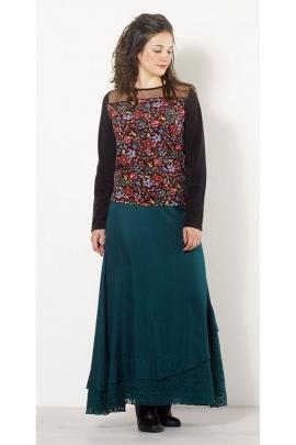 Skirt bohemian long viscose, cotton lining, lace panel