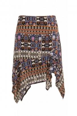 Jupe originale et colorée à volants, en voile de viscose léger, style hippie chic