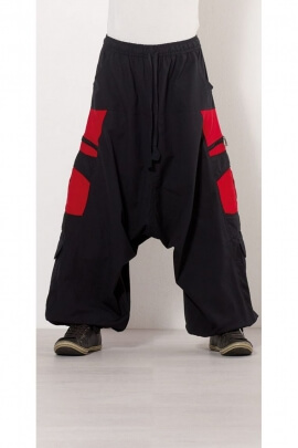 Harem pants ethnic man, half-fork, in cotton, zipped pockets, style teuf