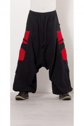 Sarouel ethnique pour homme, mi fourche, en coton, poches zippées, style teuf