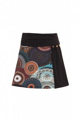 Skirt bohemian short style hippie chic cotton printed rose colored