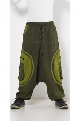 Sarouel ethnique en coton pour homme, poches avec motif en spirale, style teuf