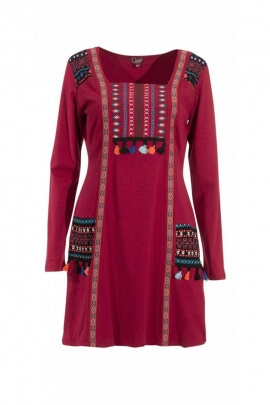 Very beautiful dress, original, and colorful accents, aztecs, dress in cotton jersey