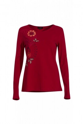 T-shirt ethnic for winter in cotton jersey, prints roses floral colorful