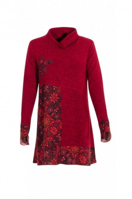 Tunic ethnic mesh, wide turtleneck and floral patterns, colorful