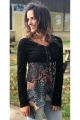 Tunic bohemian round neckline, flounce and shirred voile, patterned ethnic colorful