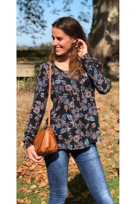 Blouse original romantic crepe viscose with floral print and long sleeves