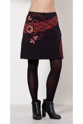 Little black skirt ethnic and sexy with printed rosette-indian