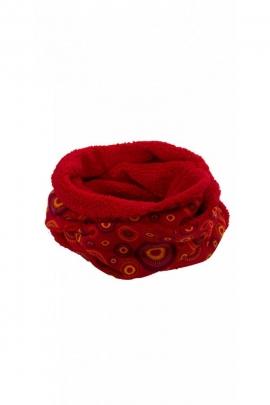 Confortable écharpe snood chic avec imprimés hippies et fausses fourrures
