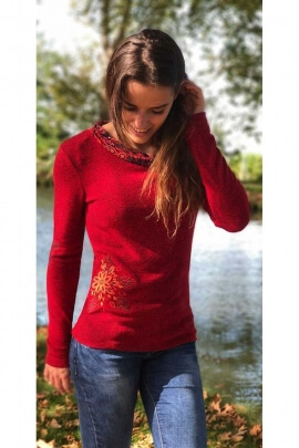 Sweater thin knit chic with scoop neckline jersey with floral pattern