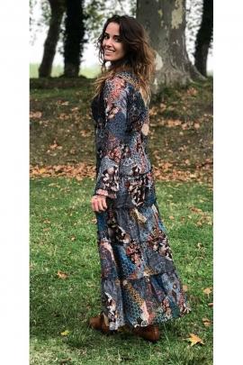 Long dress bohemian chic winter long sleeve and ruffles multi