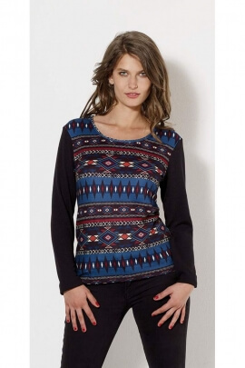 T-shirts ethnic long sleeve with patterned aztec