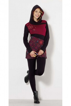 Tunic in patchwork for women with pattern ethnic original hoody