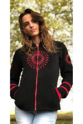 Fleece jacket long sleeve with hood with beautiful embroidery mandala