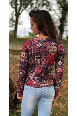 Sublime short jacket urban with pocket and printed psyche super-comfortable