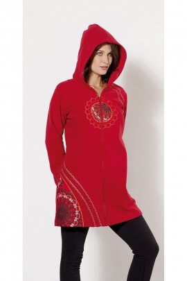 Beautiful coat polar ethnic hoody with embroidery roses
