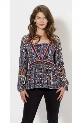 Blouse ethnic crepe viscose, blouse printed long sleeve