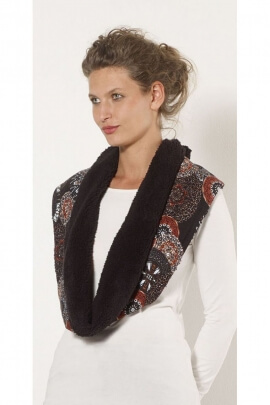 Scarf colorful and ethnic, faux fur lining