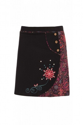 Skirt-ethnic cotton jersey with flower patterns colorful