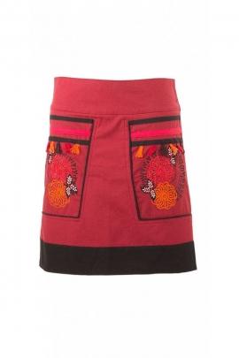 Short skirt winter original cotton, embroidery and pom-poms