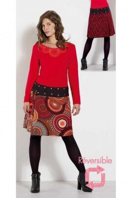 Skirt reversible colored cotton, printing Bamako and mandala