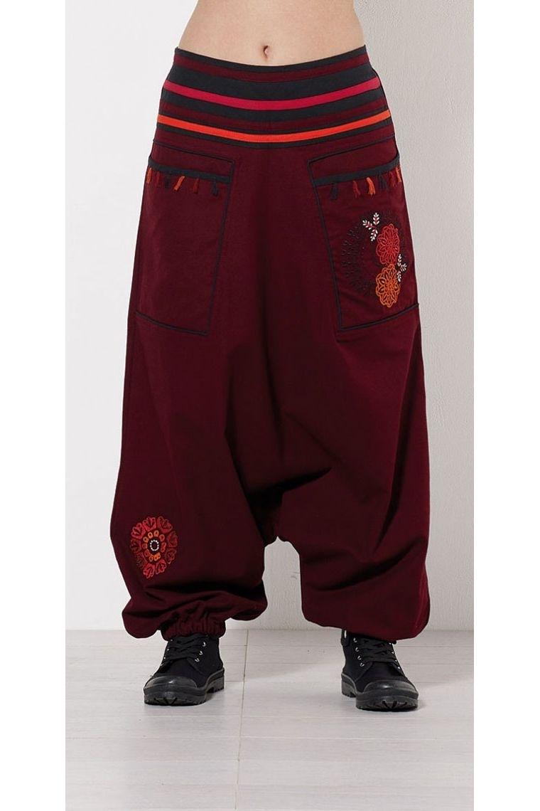 Harem pants ethnic original cotton embroidery flower and pompoms