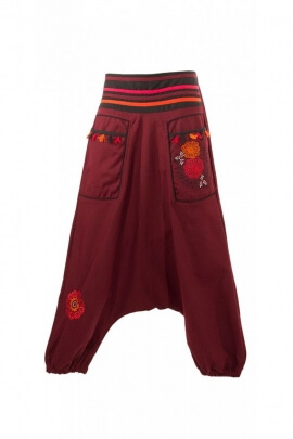 Pantalones Harem, étnica original de algodón bordado de flores y pompones