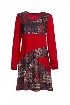 Robe ethnique originale en maille extensible, patchwork coloré