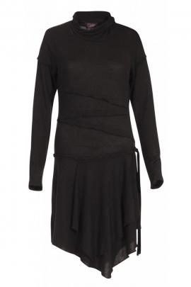 Robe unie en maille extensible, robe originale asymétrique