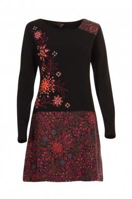Robe bohème en maille extensible, impression fleurie colorée, manches longues