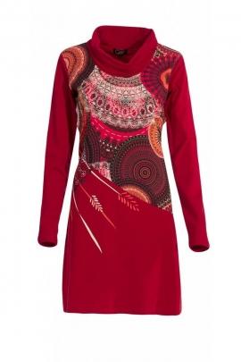Robe décontractée en coton et élasthanne, robe ethnique colorée pour l'hiver