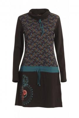 Robe d'hiver à manches longues en jersey de coton, motifs ethniques, mandalas et fleuris