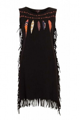 Dress ethnic trend indian, dress of original colorful patterns and fringes