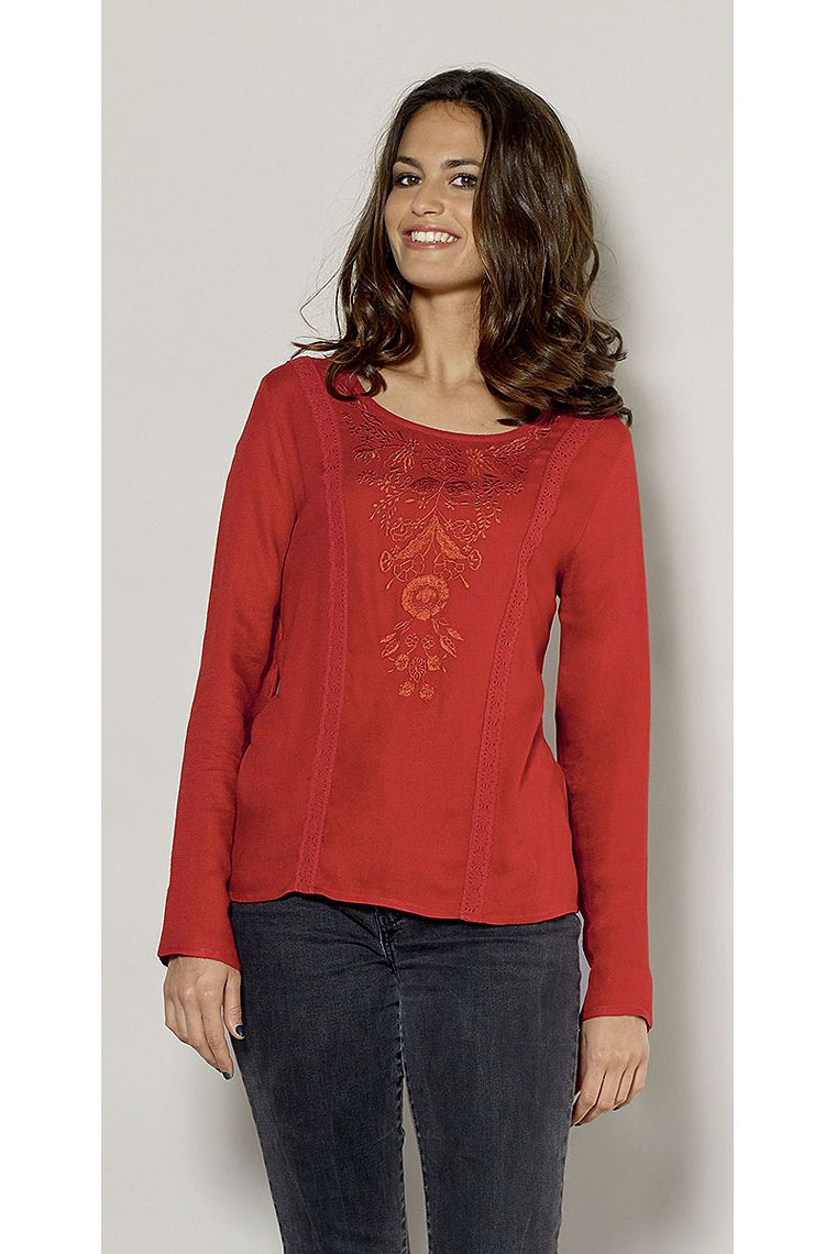 Long Sleeve Blouse Viscose Fabric Flower Embroidery