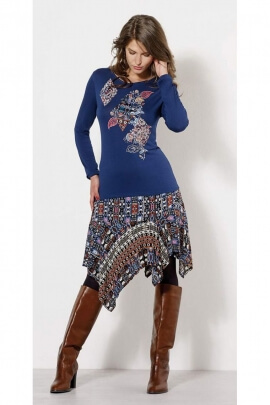 T-shirts casual long sleeve, floral pattern and patch colorful
