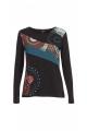 Tee-shirt original jersey made of cotton, colorful pattern and yoke asymmetrical