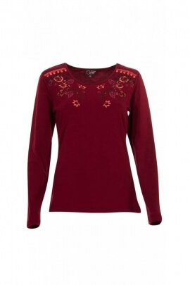 T-shirts ethnic long sleeve, prints of flowers, chic and stylish
