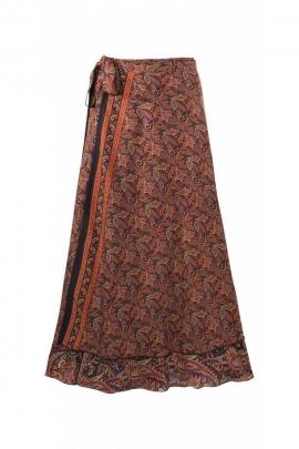 Jupe sari longue portefeuille, doublée et grande ampleur