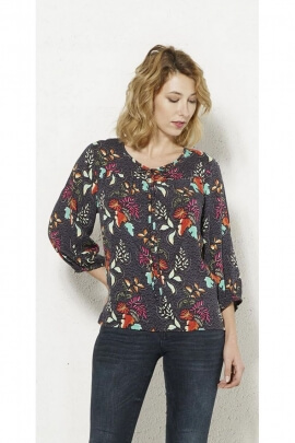 Blouse exotic 3/4 sleeves Print floral