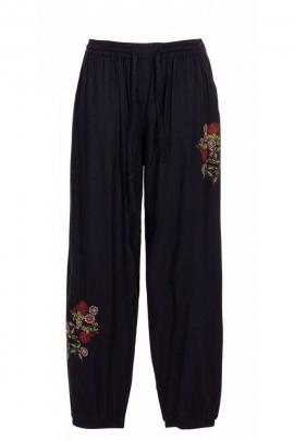 Pants original stonewash embroidered fine flowers
