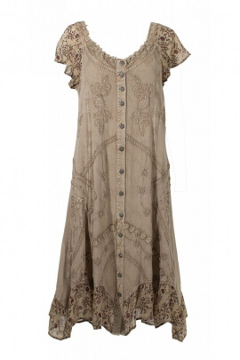 Dress stone wash, lace up back and beautiful embroidery