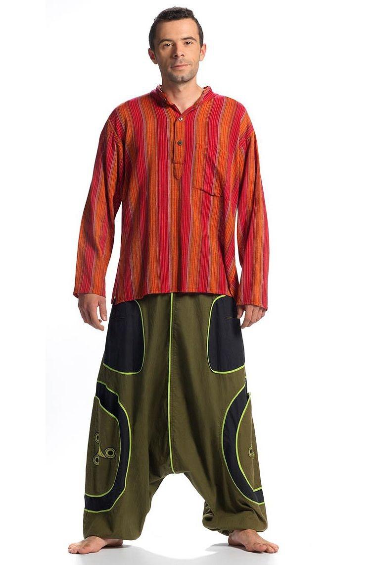 Chemise homme coton rayé nepal manches longues